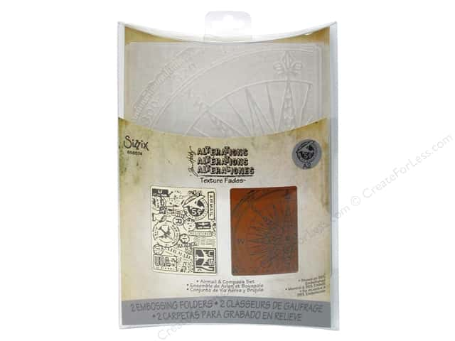 Sizzix Texture Fades Embossing Folders 2 pc. Airmail & Compass Set