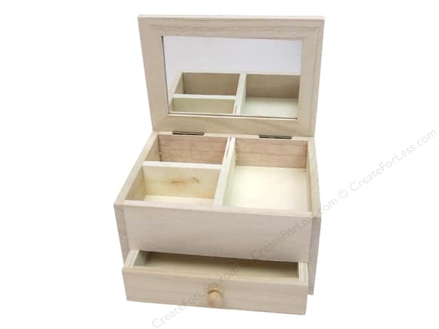 Sierra Pacific Wood Jewelry Box With Mirror 1 Drawer 6.25 in. x 3.75 in. x 4.75 in.
