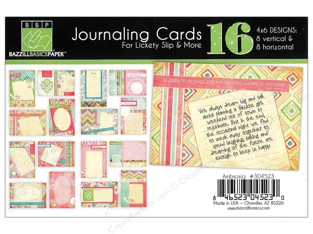 Bazzill Lickety Slip Journaling Cards 4 x 6 in. Ambrosia 16 pc.