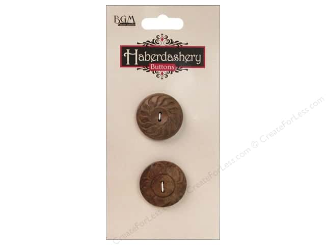 Buttons Galore Haberdashery Carved Button #8 Dark 2 pc.