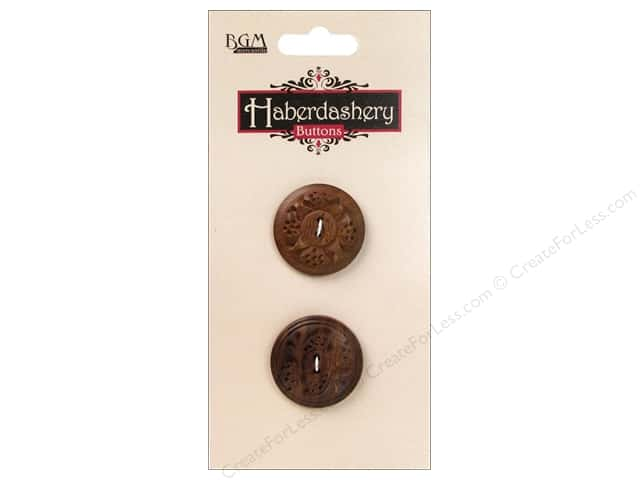 Buttons Galore Haberdashery Carved Button #9 Dark 2 pc.