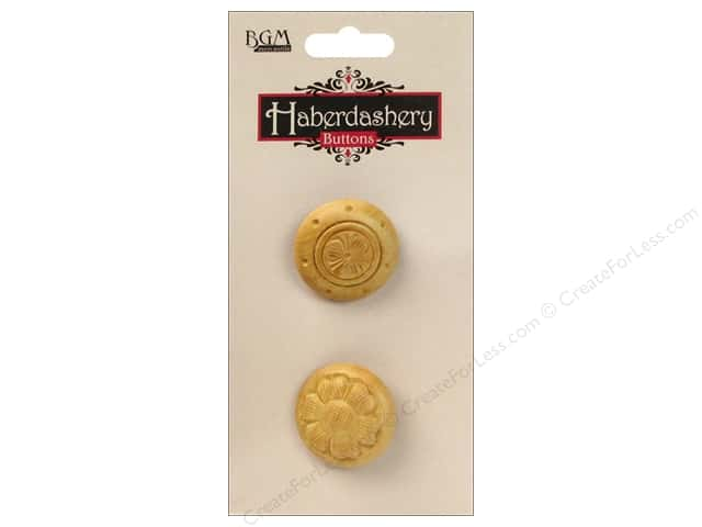 Buttons Galore Haberdashery Carved Button #13 Light 2 pc.