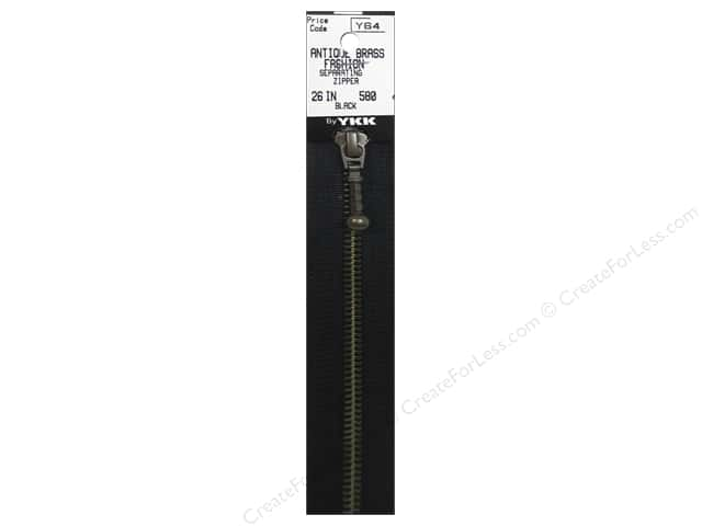 YKK #5 Antique Brass Zipper 26 in. #580 Black