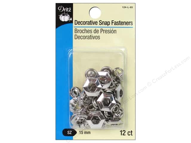 Dritz Decorative Snap Fasteners 5/8 in. Hexagon Nickel 12 pc.