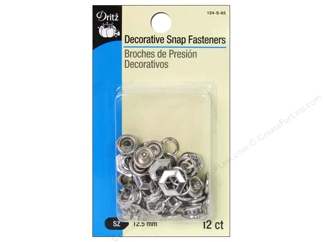 Decorative Snap Fasteners by Dritz 1/2 in. Hexagon Nickel 12 pc.
