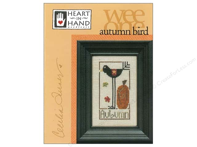 Heart In Hand Wee One Bird Autumn Pattern by Cecilia Turner
