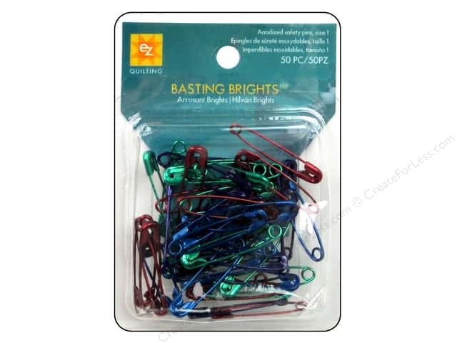 EZ Quilting Safety Pins Basting Brights 50pc