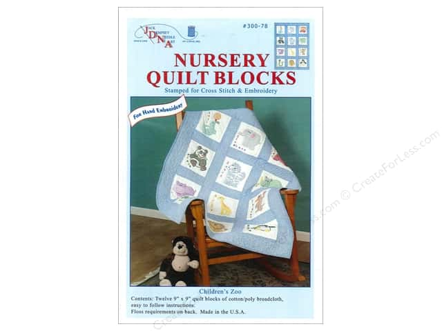Jack Dempsey 9 in. Quilt Blocks 12 pc. Zoo Animals