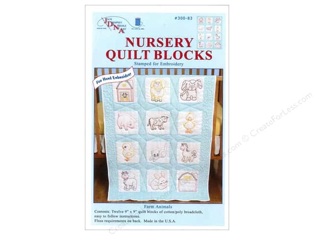 Jack Dempsey 9 in. Quilt Blocks 12 pc. Farm Animals