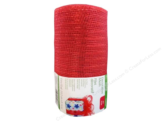 FloraCraft Decorative Mesh 6 in. x 10 yd. Metallic Red