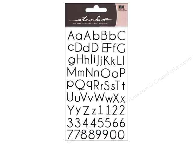 EK Sticko Alphabet Stickers Small Thin Upright Black