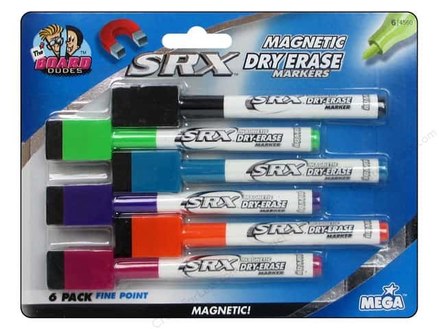 The Board Dudes Magnetic Dry Erase Markers with Erasers 6 pc. Fine Point