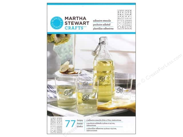 Martha Stewart Stencils by Plaid Adhesive Glass Italic Script Alphabet