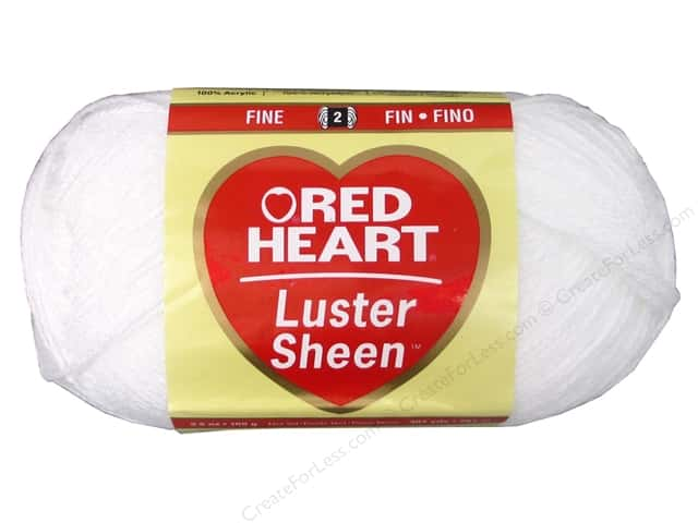 Red Heart LusterSheen Yarn 307 yd. #1 White