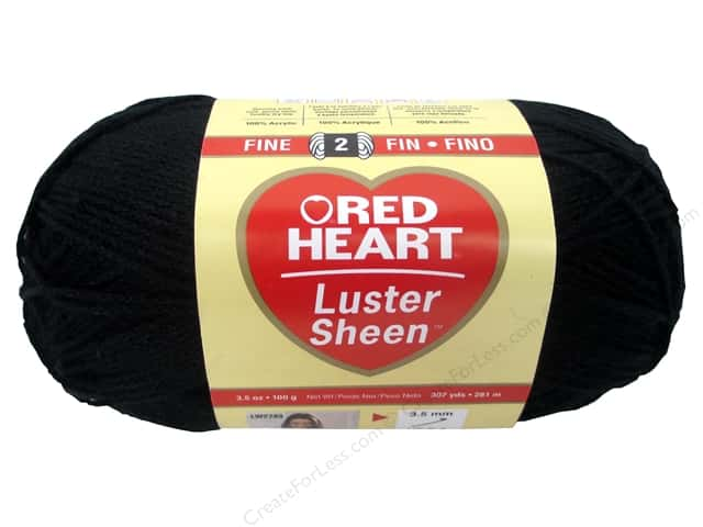 Red Heart LusterSheen Yarn #2 Black 307 yd.
