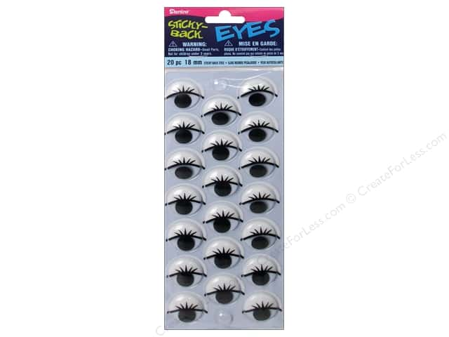 Darice Googly Eyes Sticky Back 18 mm Printed with Lashes 20 pc.
