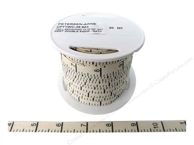 Printed Twill Tape by Cheep Trims Measuring Tape Vertical Inches Natural (50 yards)