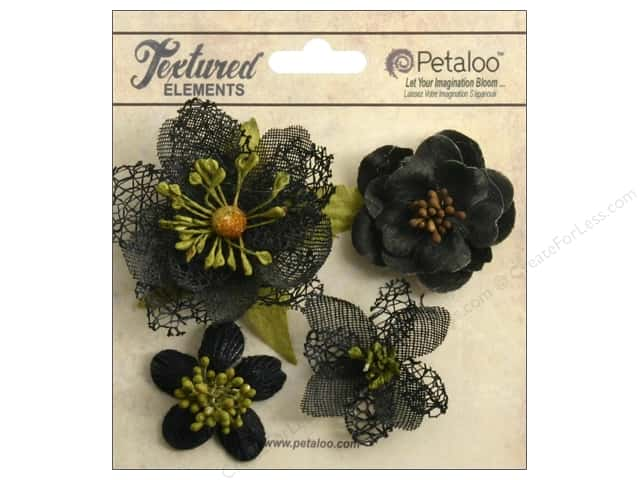 Petaloo Textured Elements Blossoms Black