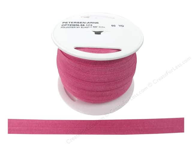 Fold Over Nylon Elastic by Cheep Trims 5/8 in. Hot Pink (50 yards)