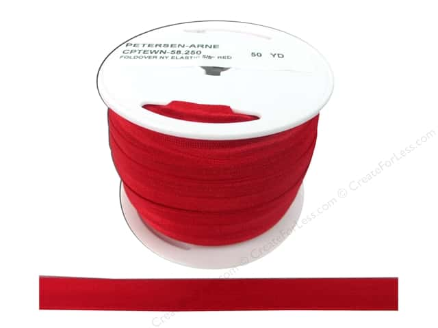 Fold Over Nylon Elastic by Cheep Trims 5/8 in. Red (50 yards)