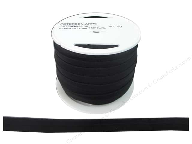 Fold Over Nylon Elastic by Cheep Trims 5/8 in. Black (50 yards)