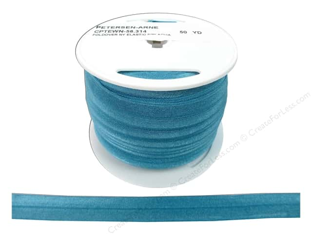 Fold Over Nylon Elastic by Cheep Trims 5/8 in. Aqua (50 yards)