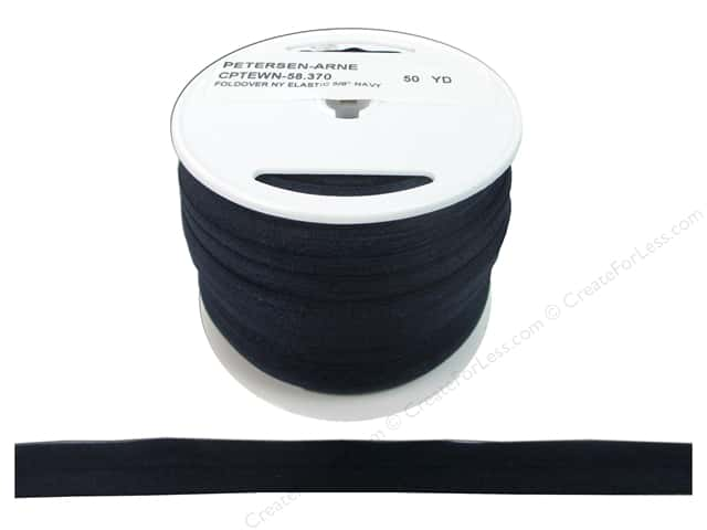Fold Over Nylon Elastic by Cheep Trims 5/8 in. Navy (50 yards)