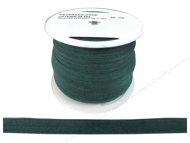 Fold Over Nylon Elastic by Cheep Trims 5/8 in. Forest (50 yards)