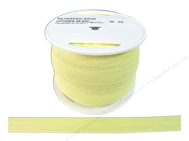 Fold Over Nylon Elastic by Cheep Trims 5/8 in. Pale Yellow (50 yards)