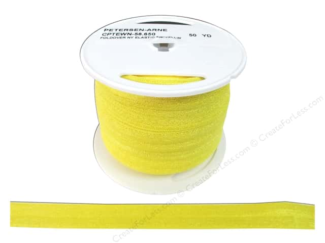 Fold Over Nylon Elastic by Cheep Trims 5/8 in. Yellow (50 yards)