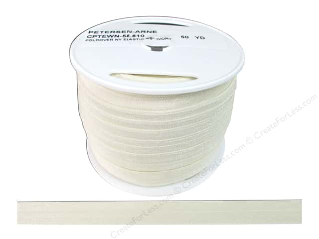 Fold Over Nylon Elastic by Cheep Trims 5/8 in. Ivory (50 yards)