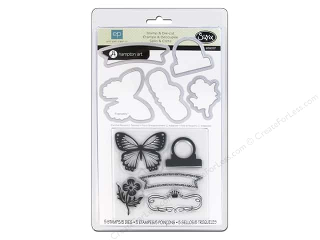 Sizzix Framelits Die Set 5 PK with Stamps For The Record 2 Tailored by Echo Park