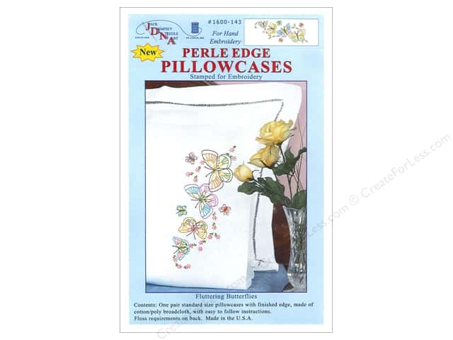 Jack Dempsey Pillowcase Perle Edge White Fluttering Butterflies