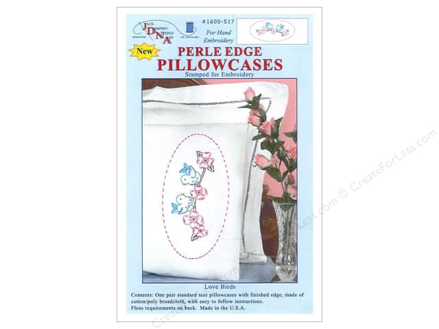 Jack Dempsey Pillowcase Perle Edge White Love Birds