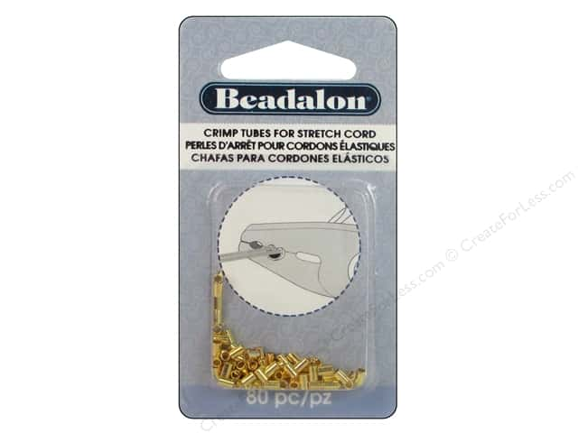 Beadalon Crimp Tubes for Stretch Cord 0.8 mm Gold 80 pc.