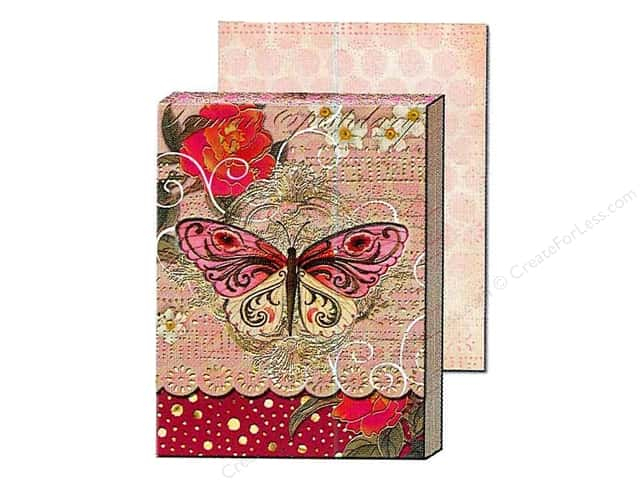 Punch Studio Pocket Note Pad Window Pink Swirl Butterfly