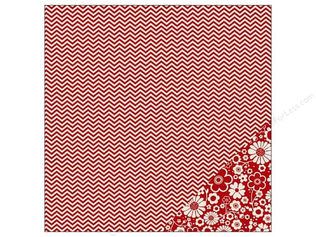 Pebbles 12 x 12 in. Paper Basics Rouge Chevron (25 sheets)