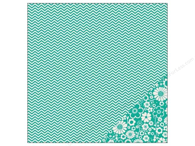 Pebbles 12 x 12 in. Paper Basics Aqua Chevron (25 sheets)