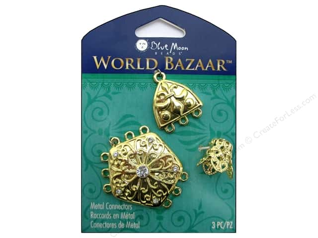 Blue Moon Beads Metal Connectors World Bazaar Gold Pentagon & Triangle 3 pc.