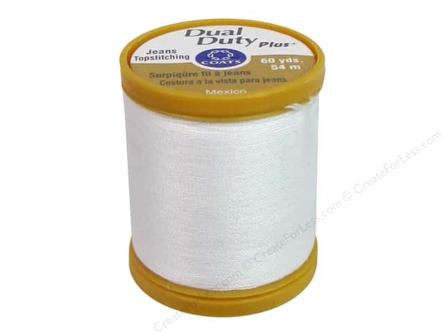 Coats Dual Duty Plus Jeans Topstitching Polyester Thread 60 yd. White