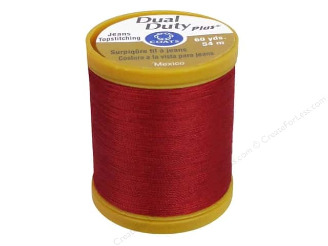 Coats Dual Duty Plus Jeans Topstitching Polyester Thread 60 yd. Red