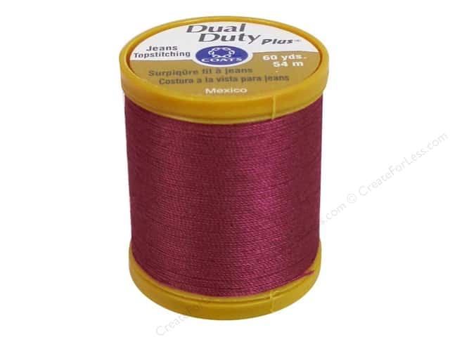 Coats Dual Duty Plus Jeans Topstitching Polyester Thread 60 yd. Red Rose