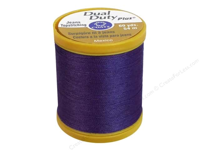 Coats Dual Duty Plus Jeans Topstitching Polyester Thread 60 yd. Purple