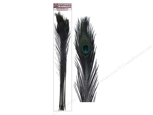 Zucker Feather Stem Dyed Peacock Eyes Feathers 10 pc. Black