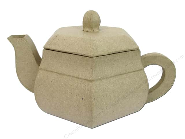 Paper Mache Teapot Hexagonal by Craft Pedlers