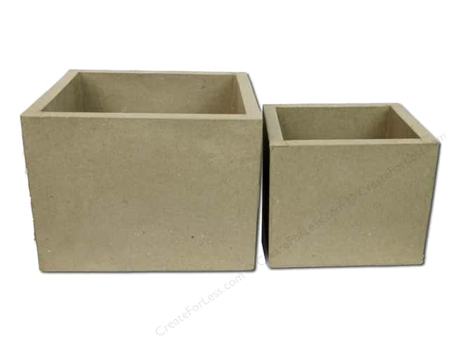 PA Paper Mache Rectangle Open Box Set of 2