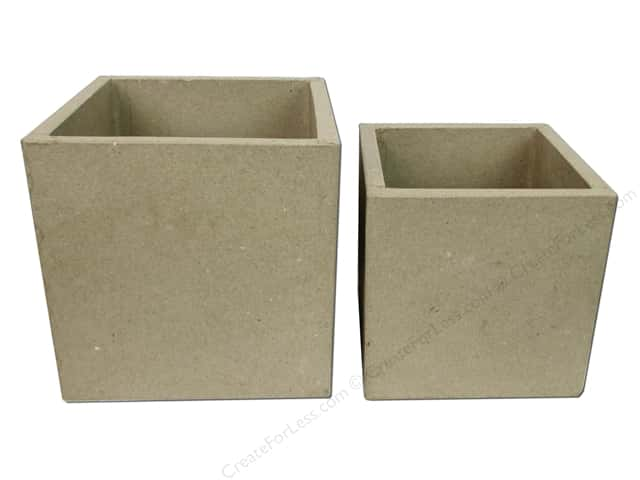 PA Paper Mache Open Square Box Set of 2
