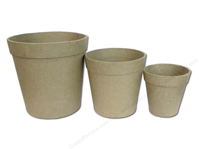 Paper Mache Flower Pot Set 3 pc. by Craft Pedlers