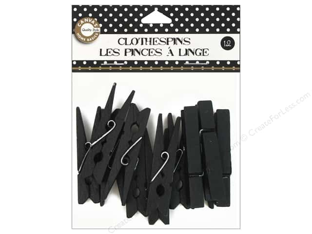 Canvas Corp Small Clothespins 12 pc. Black