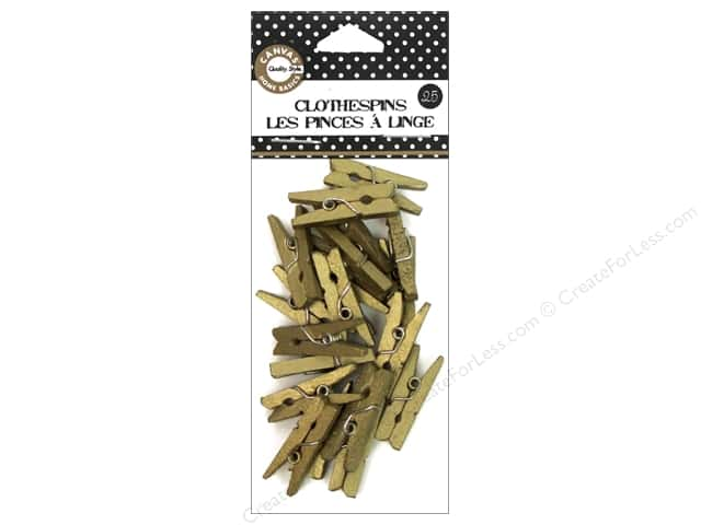 Canvas Corp Mini Clothespins 25 pc. Gold